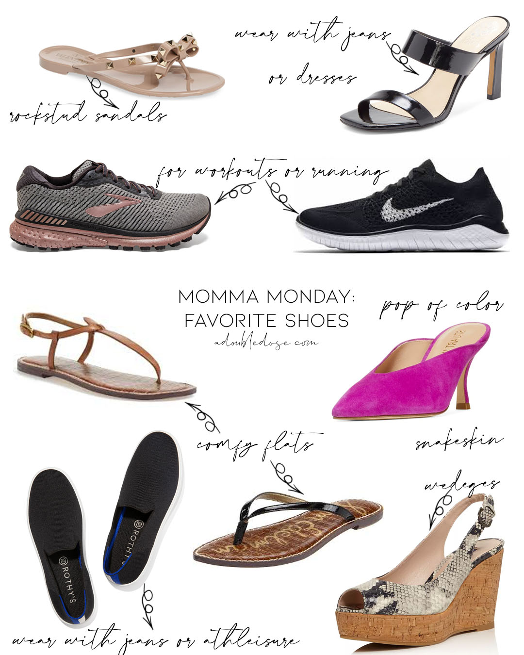 lifestyle and fashion bloggers alexis and samantha belbel sharing their momma monday series featuring their moms favorite and go to shoes from brooks and nike sneakers to sam edelman sandals and other heels | adoubledose.com