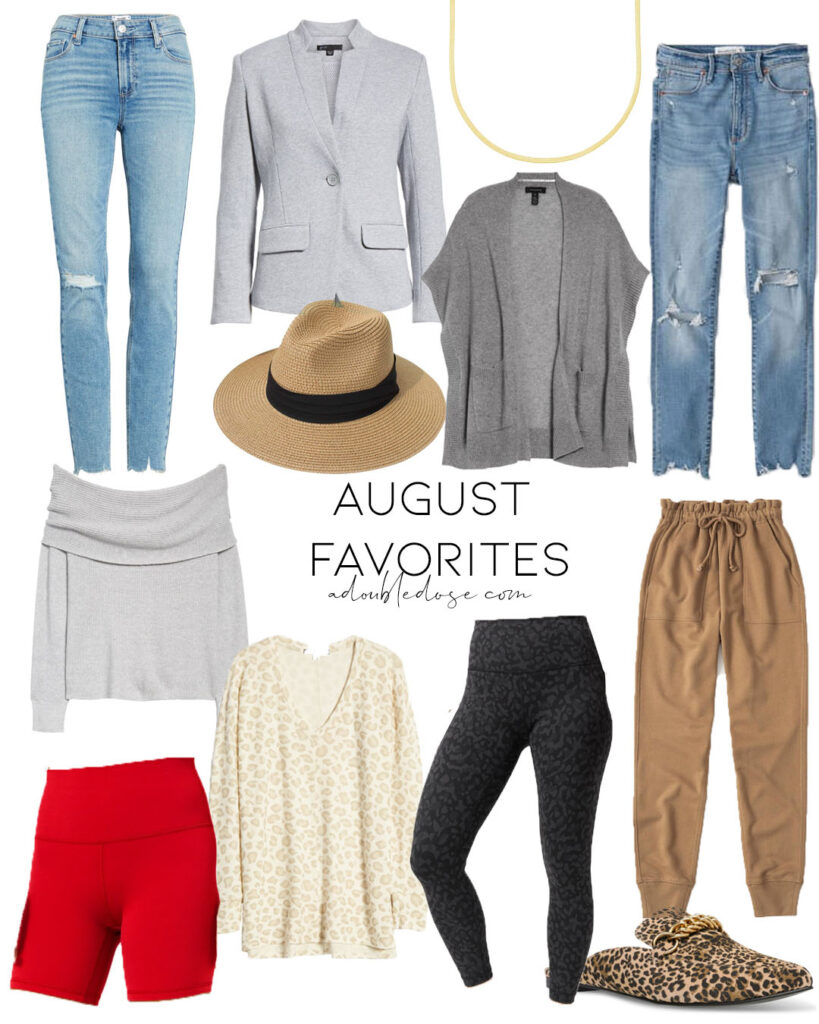lifestyle and fashion blogger alexis belbel sharing her august favorites including ripped skinny jeans, sweaters, mules, lululemon leggings and more | adoubledose.com