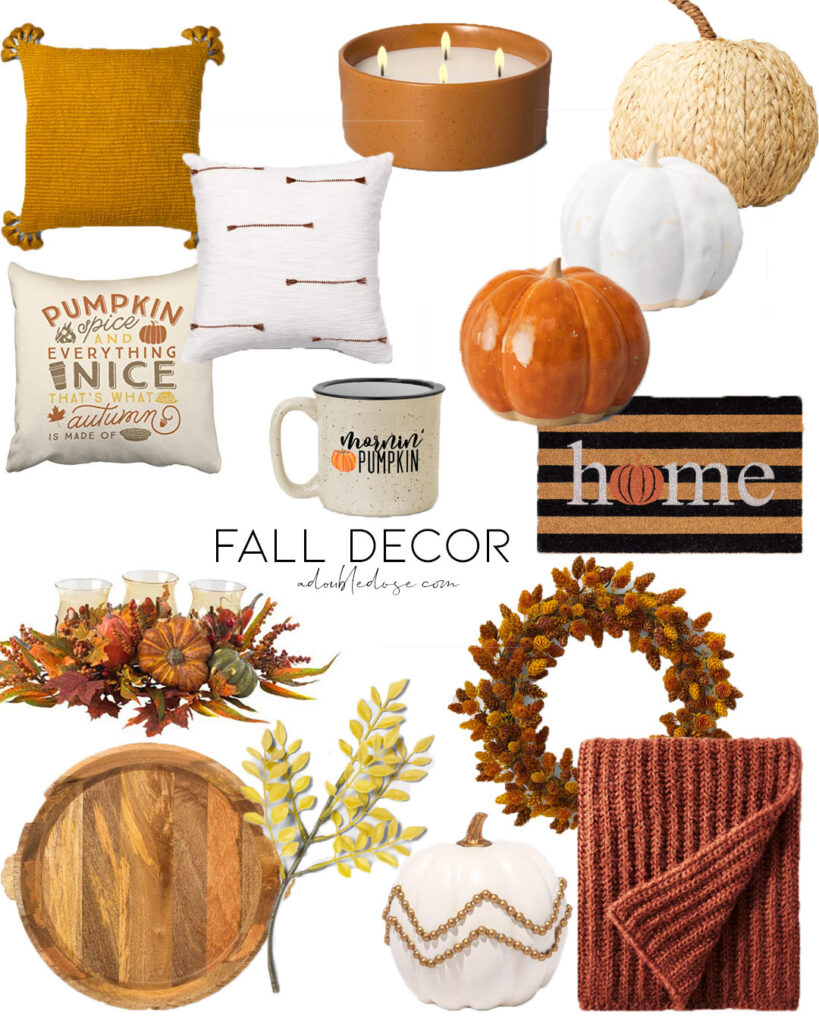 lifestyle and fashion blogger alexis belbel shares some fall home decor for inside and outside from target and walmart: pumpkins, wreaths, throw pillows | adoubledose.com