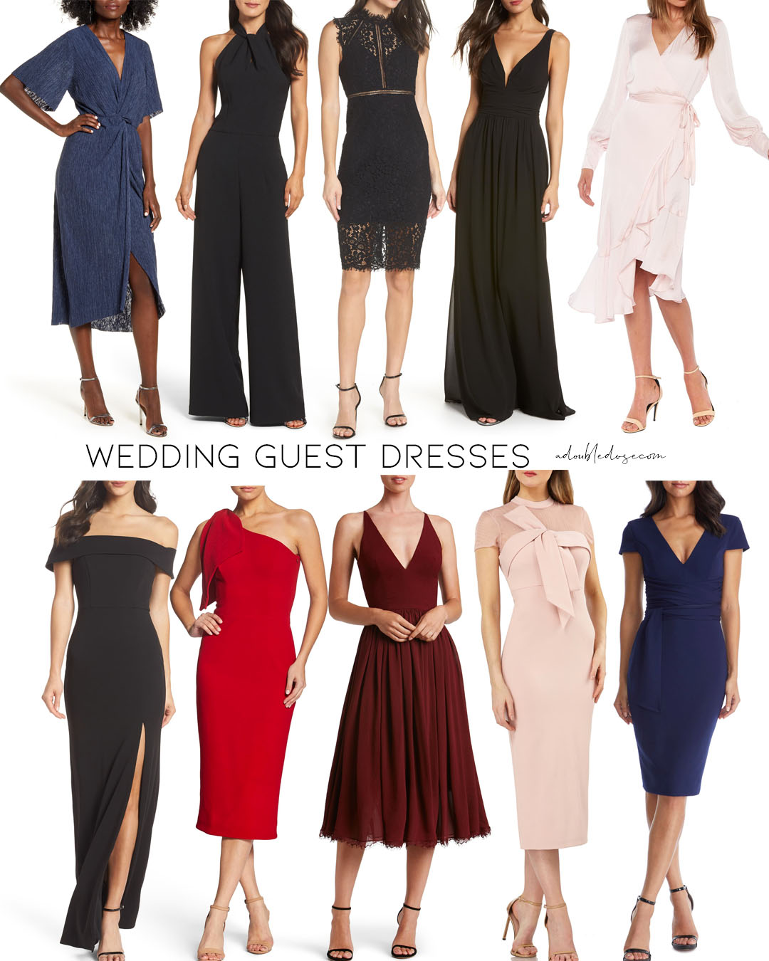 lifestyle and fashion blogger alexis and samantha belbel sharing their roundup of fall wedding guest dresses for weddings in 2020 cocktail and shorter lengths