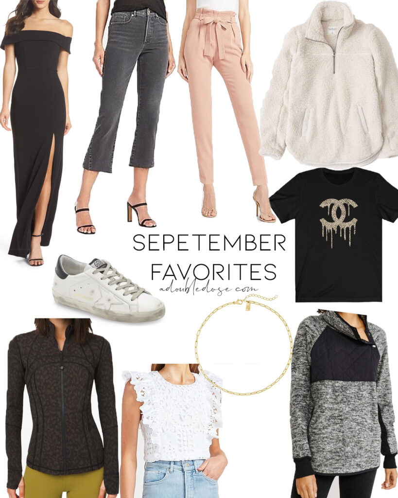 lifestyle and fashion blogger alexis belbel sharing her august favorites including chanel graphic tee, black cocktail dress, abercrombie fleece pullover, express flare jeans and more | adoubledose.com