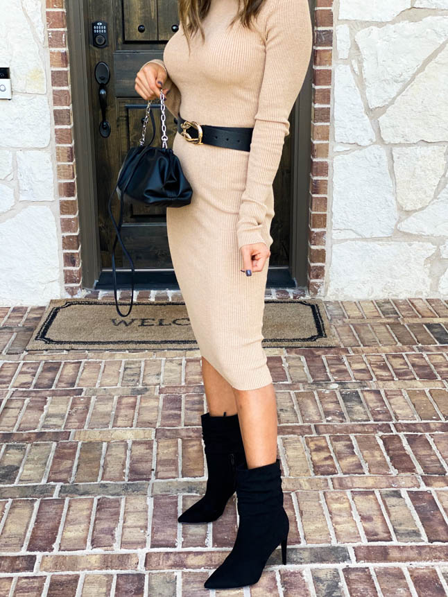 lifestyle and fashion blogger alexis belbel sharing how to style sweater dresses for petites from express for the holidays or date night| adoubledose.com