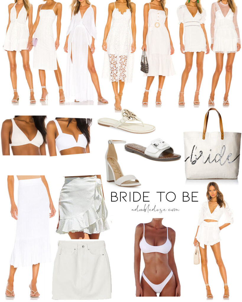 lifestyle and fashion blogger alexis belbel sharing some white bride to be options in dresses, shoes, bikini, skirts, and more| adoubledose.com