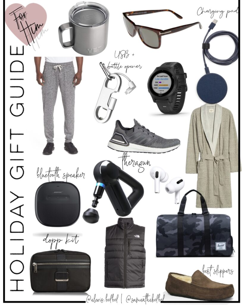 lifestyle and fashion bloggers alexis and samantha belbel sharing their holiday gift guide 2020: gift ideas for him- kiehl's shave set, ugg robe, ugg slippers, bluetooth speaker, Tumi Dopp kit, tom ford sunglasses, camo duffel bag and more | adoubledose.com