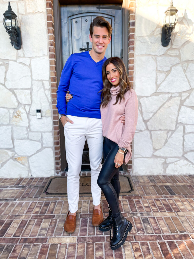 lifestyle and fashion blogger samantha belbel shares a men's gift idea from Nordstrom: Jack Black men's shaving kit that is perfect for any man in your life. Wearing spanx faux leather leggings with pink tunic sweater and combat boots.