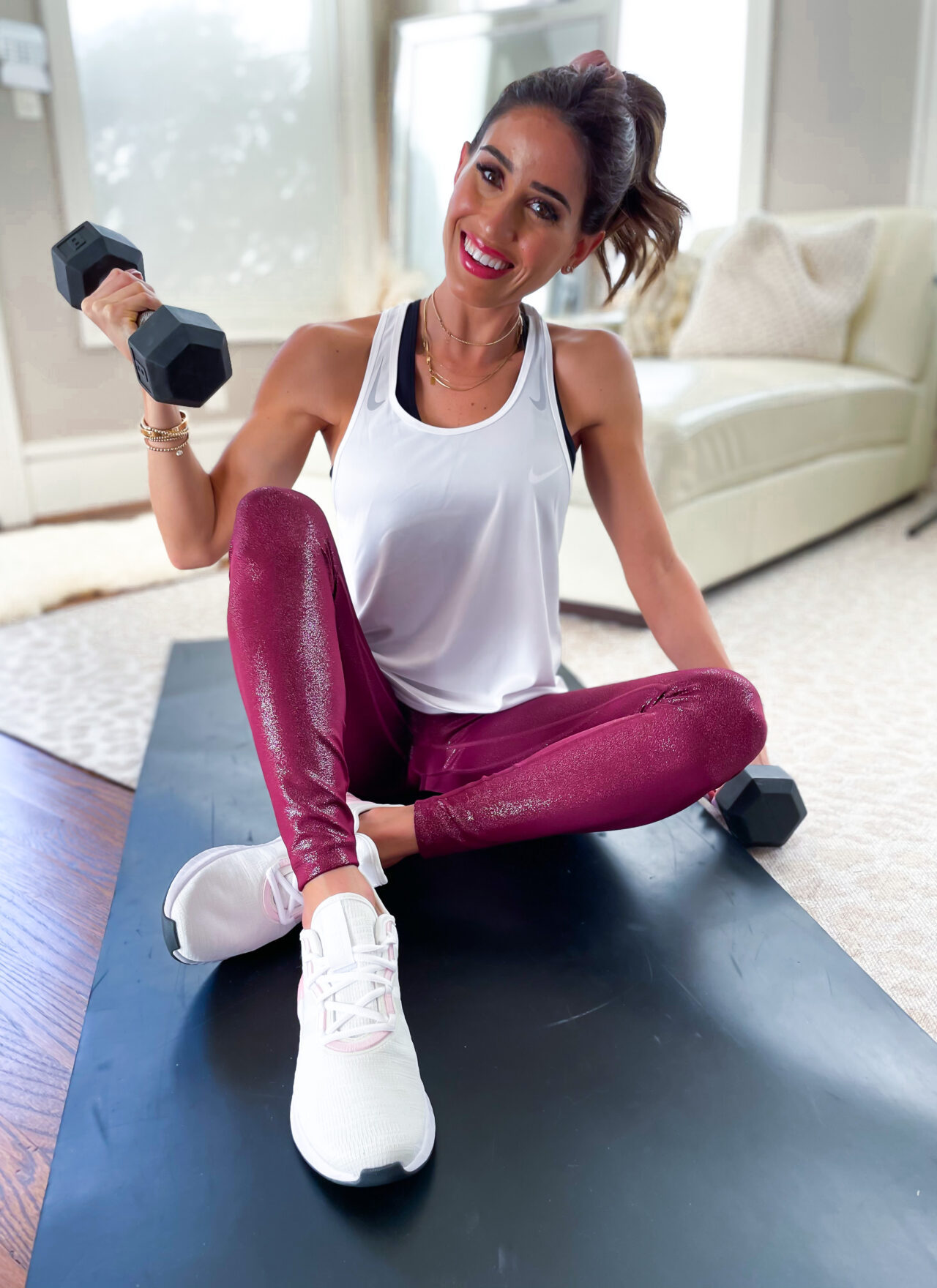 lifestyle and fashion blogger alexis belbel sharing an at home full body workout with dumbbells with a nike outfit from Academy Sports and Outdoors   adoubledose.com