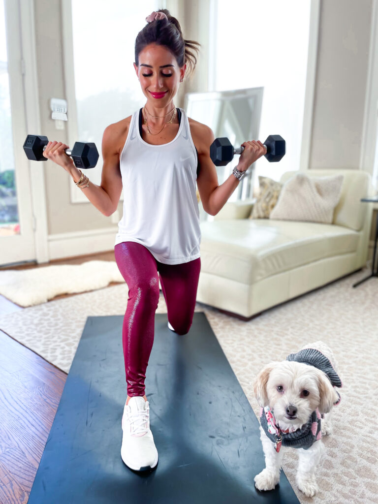 lifestyle and fashion blogger alexis belbel sharing an at home full body workout with dumbbells with a nike outfit from Academy Sports and Outdoors | adoubledose.com