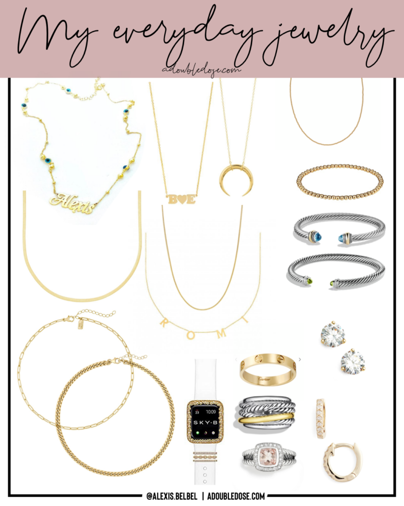 lifestyle and fashion bloggers alexis and samantha belbel sharing their everyday jewelry favorites including their personalized gold necklaces, earrings, david yurman rings and bracelets, and apple watch and michele watches   adoubledose.com