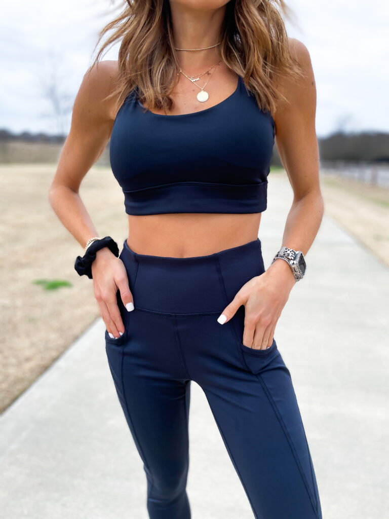 lifestyle and fashion bloggers alexis and samantha belbel share Freely activewear from Academy 7/8 leggings and sports bra and their current workout routine at home and at the gym | adoubledose.com