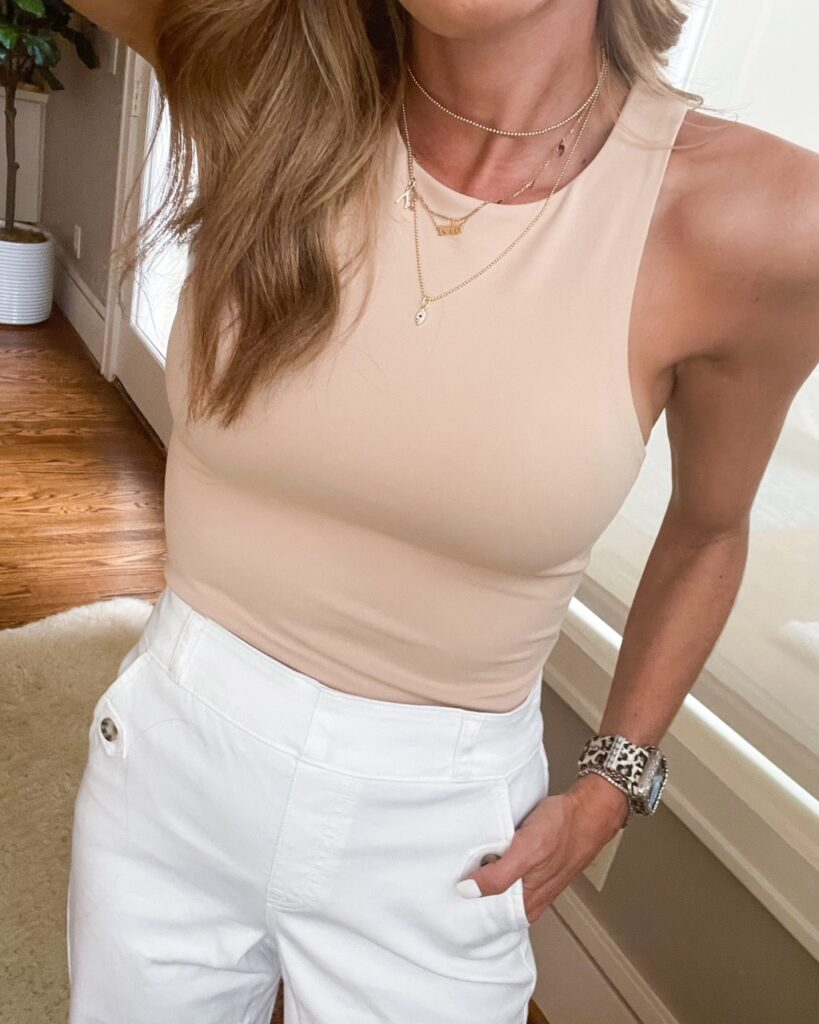 lifestyle and fashion bloggers alexis and samantha belbel sharing five summer looks from express on sale: white eyelet dress, denim bermuda shorts, bodysuit, off shoulder tops and more | adoubledose.com