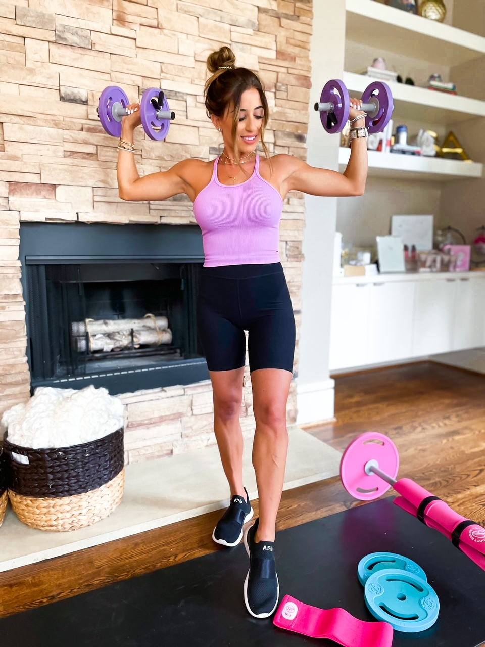 lifestyle and fashion blogger samantha belbel shares a full body at home workout using Booty Bands resistance bands, dumbbells, and barbell | adoubledose.com